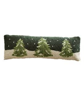 Snowy Trees Winter Scene Hooked Wool Lumbar Pillow
