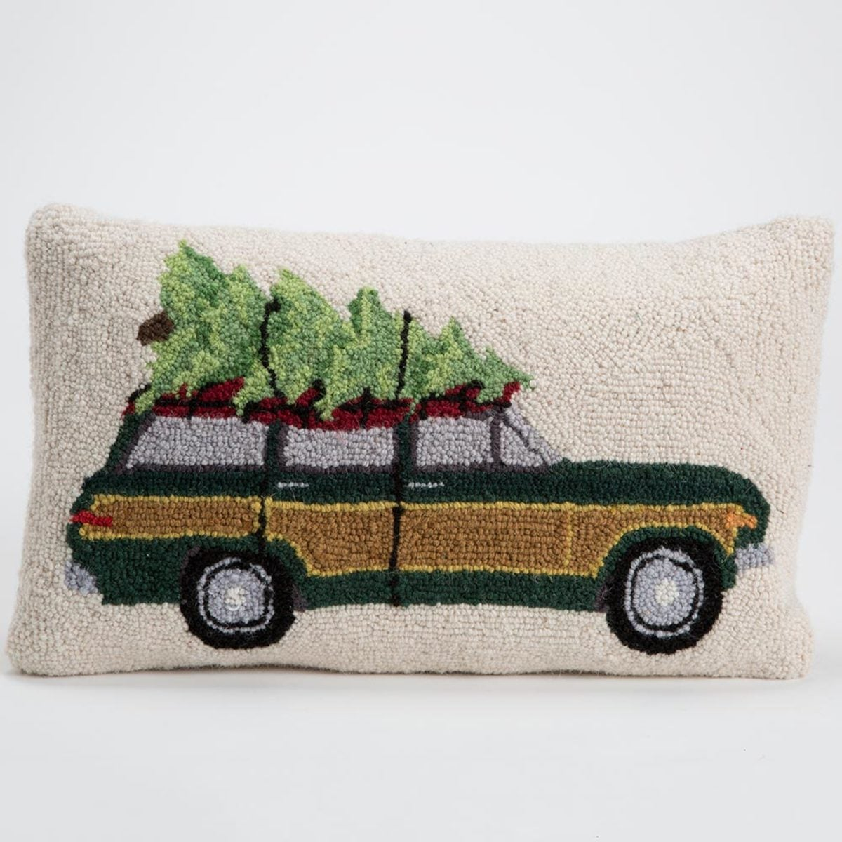Hand-Hooked Wool Pillow - Station Wagon With Tree