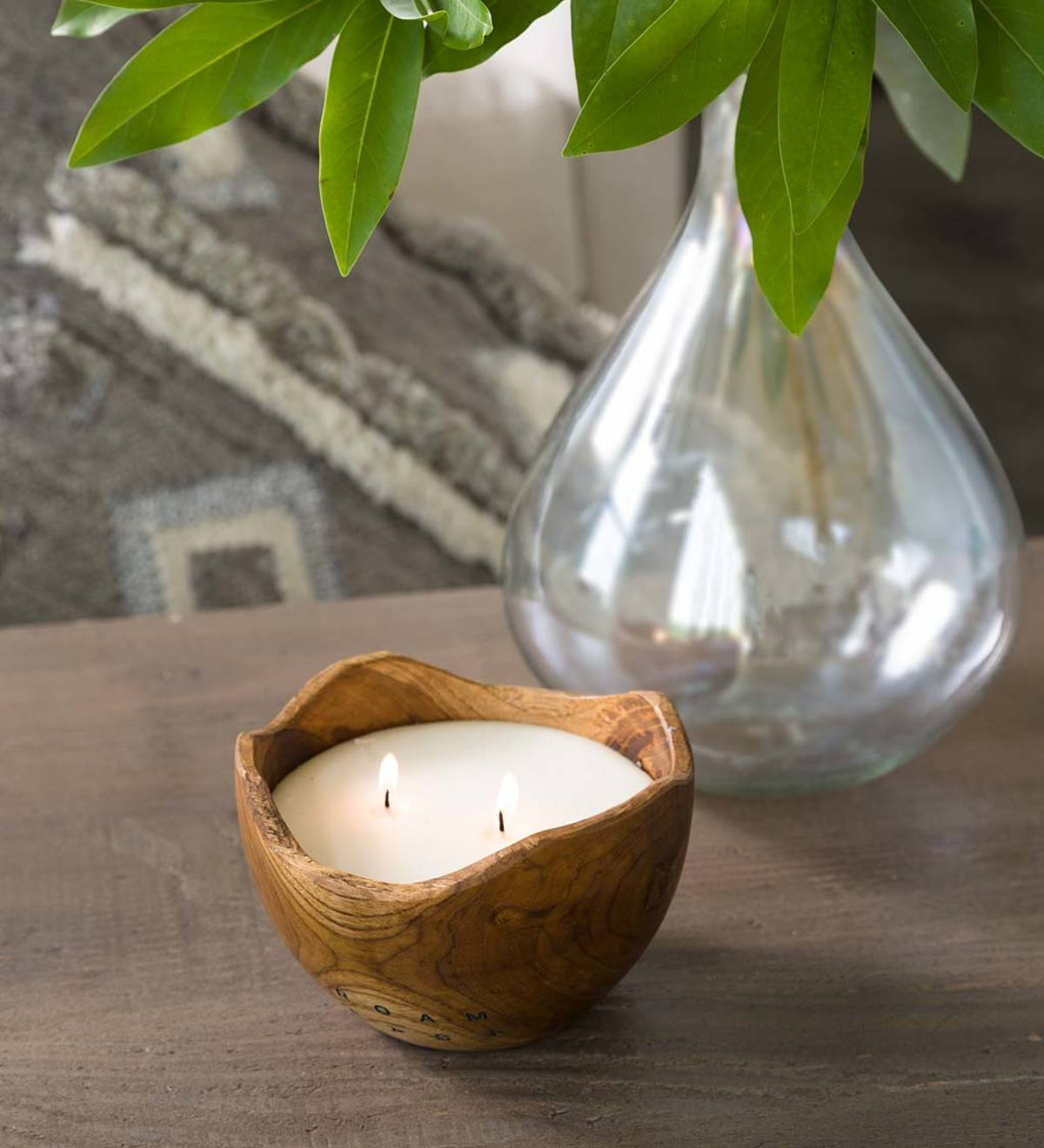 Handcrafted Teak Wood Bowl Candle Vivaterra
