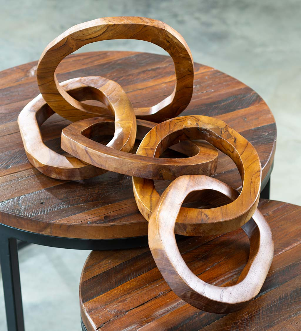 Hand-Carved Teak Wood Chain Sculpture
