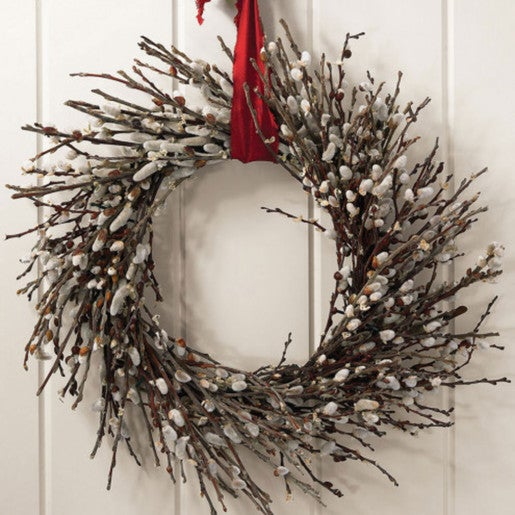 Pussy Willow Wreath and Hanger - 22""