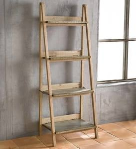 Wood and Metal 4-Shelf Display Rack