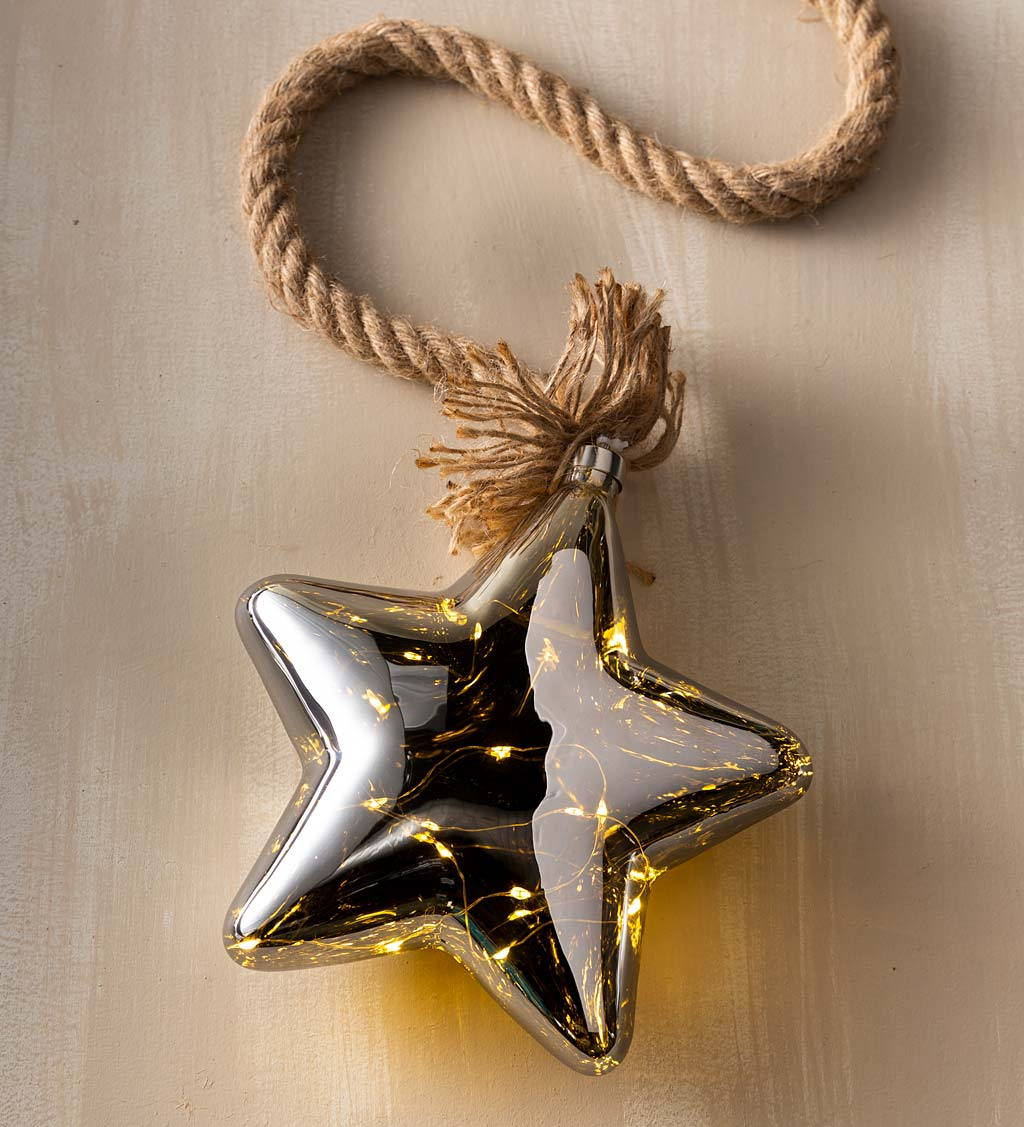 Jute Rope Illuminating Glass Star Light