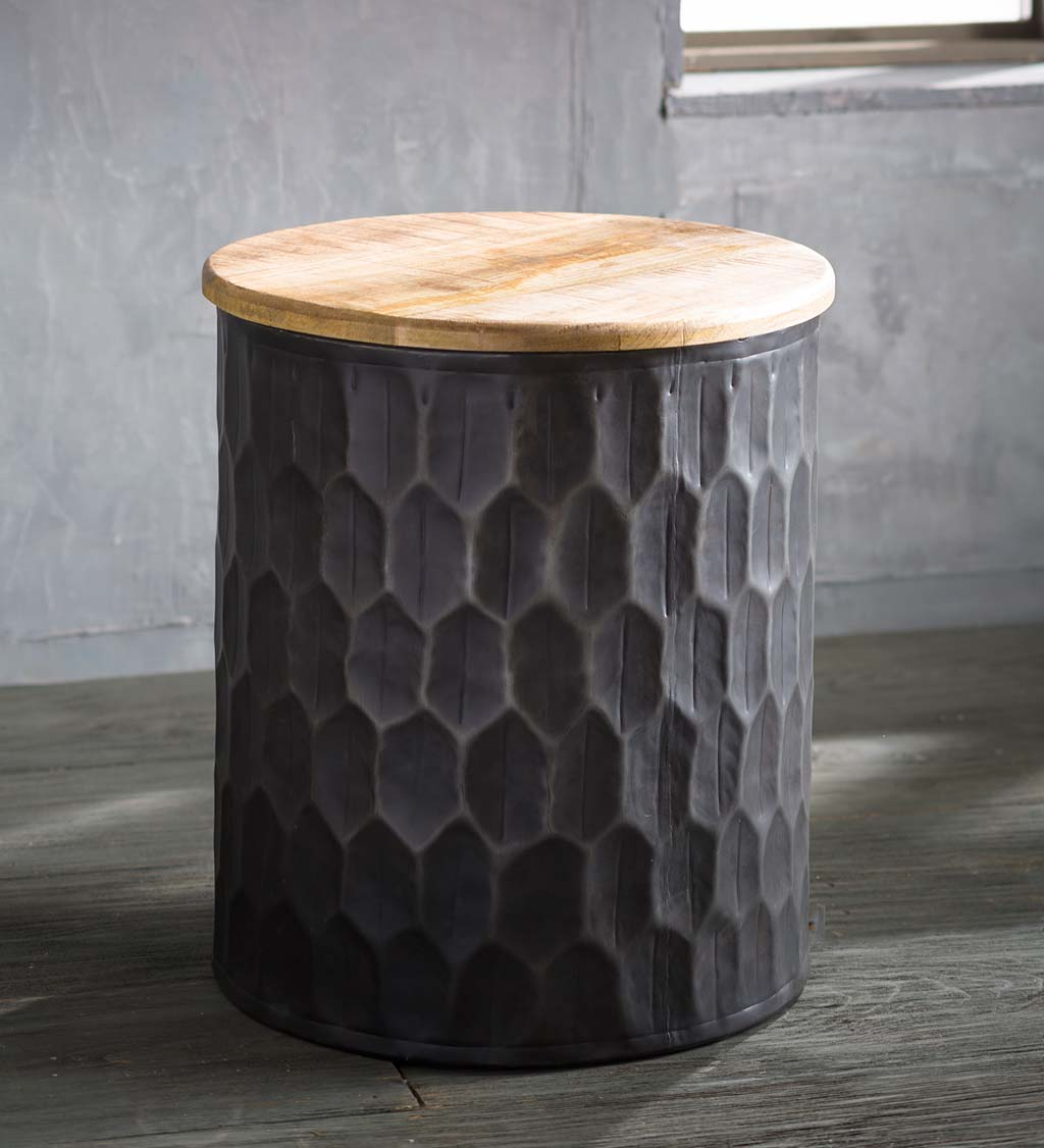 Honeycomb Metal with Reclaimed Wood Top Side Table