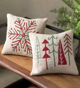 "Holiday Trees Hand-Hooked Pillow, 16""Sq."