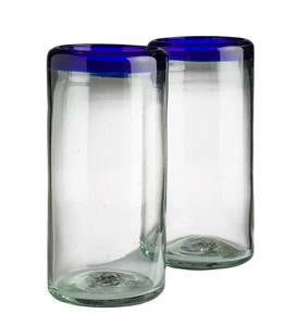 Color Rim Recycled Highball Glasses Set of 2 - Blue
