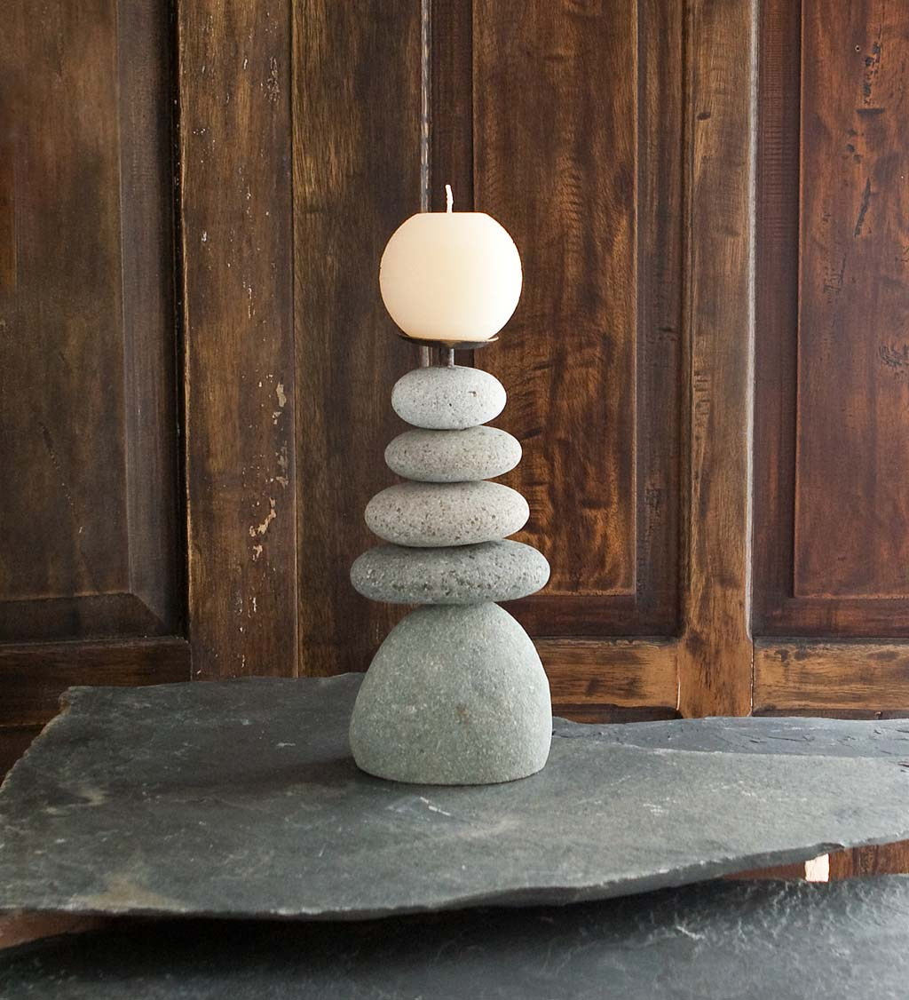 5-Stone Cairn Candle Holders, Set of 2