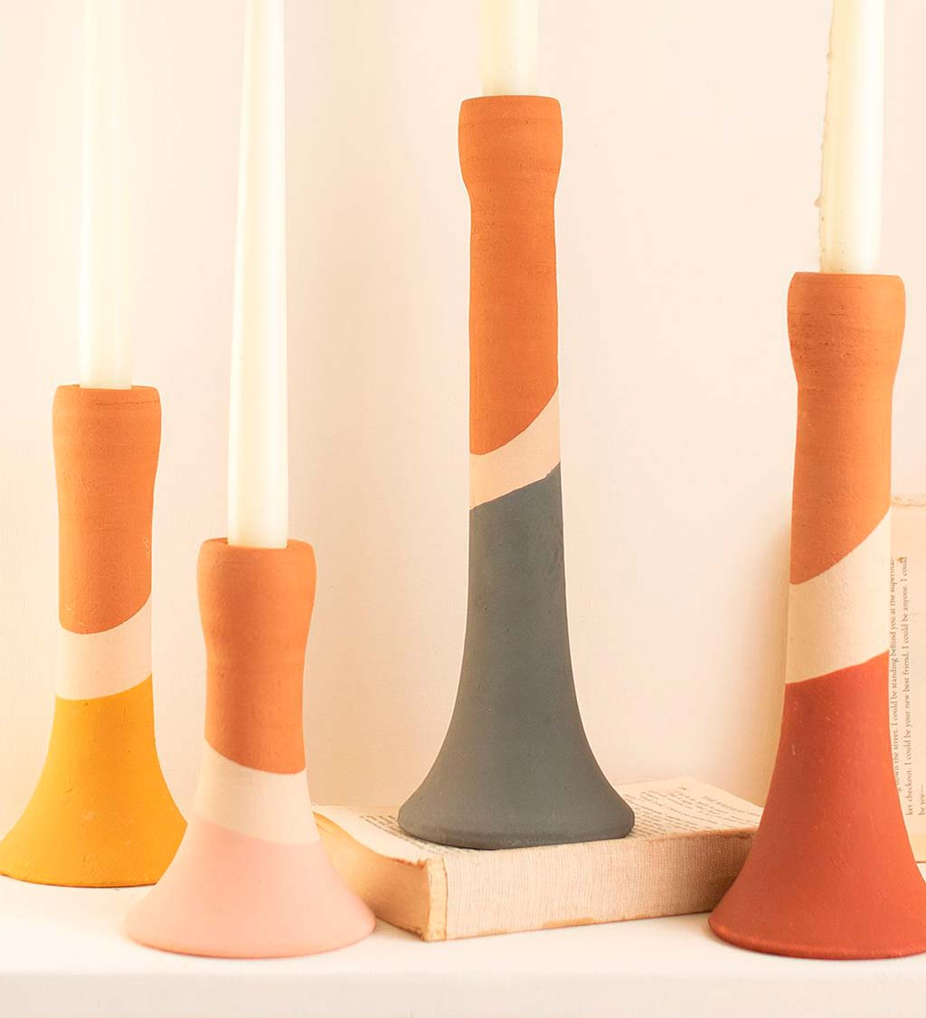 Muti-stripe Clay Candle Holders, Set of 4