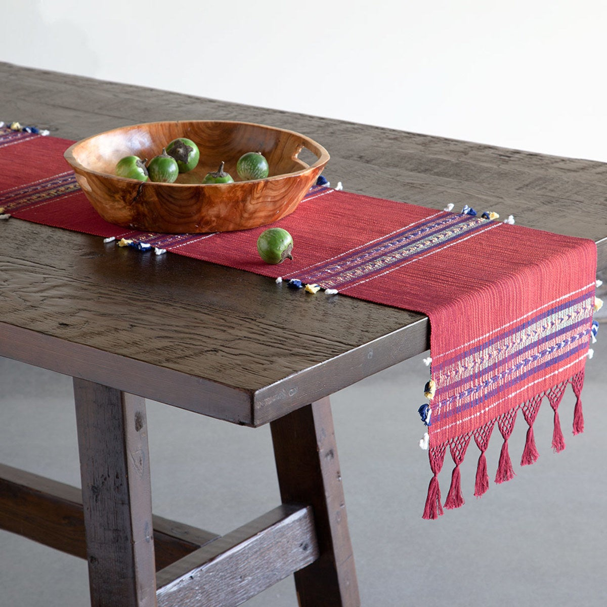 Artisan-Made Fringed Table Runner - Red Stripe