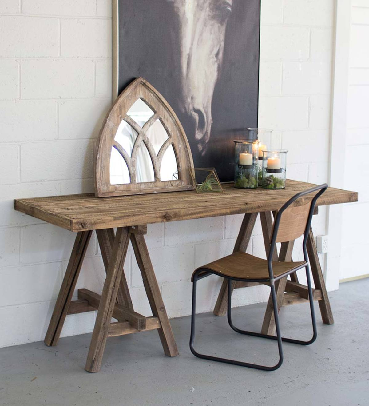 Wooden Console Table With Saw Horse Base Vivaterra