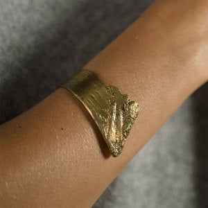 Handmade Birch Bark Cuff in Brass
