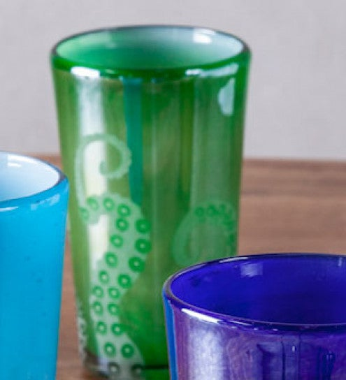 Hand-Etched Recycled Glass Tall Octopus Tumblers - Set of 4