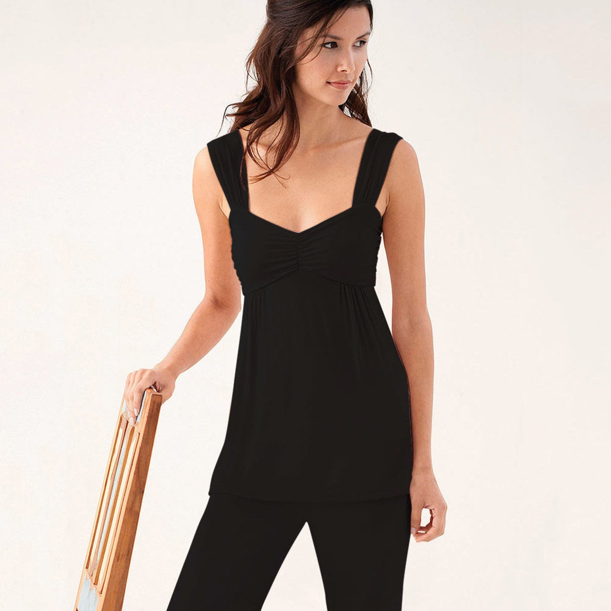 Eco-Weave Sleeveless Top & Cropped Pant Pajama Set - Black - XL
