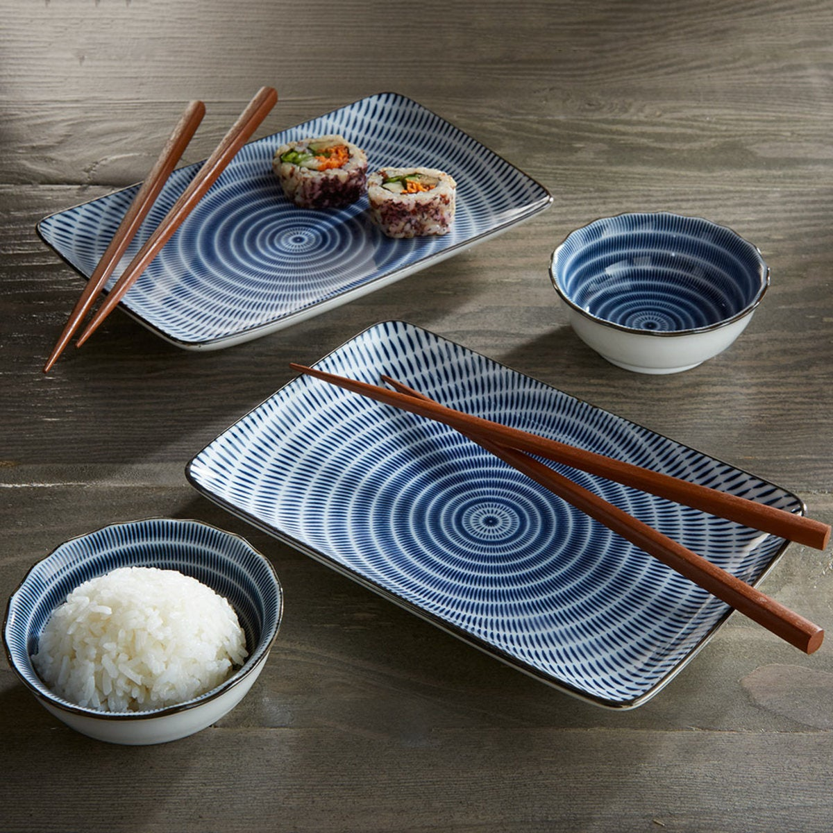 Rippling Waters Sushi Set For Two - Blue