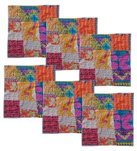 Square Upcycled Kantha Placemats Set of 6
