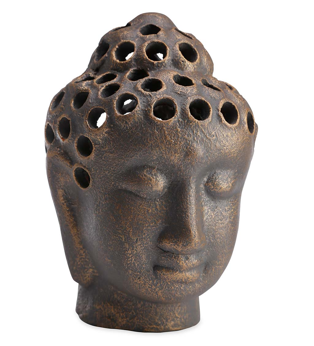 Clay Buddha Head Votive Lantern