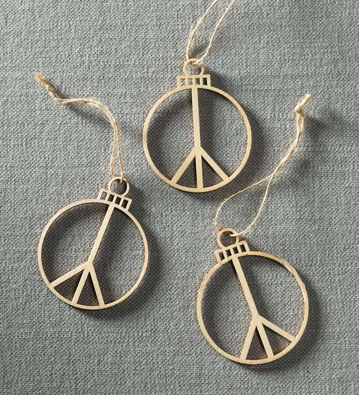 Wood Cut Peace Ornaments Set Of 3 Vivaterra
