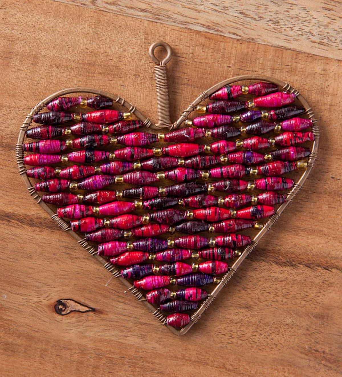 Beaded Red Heart Ornament