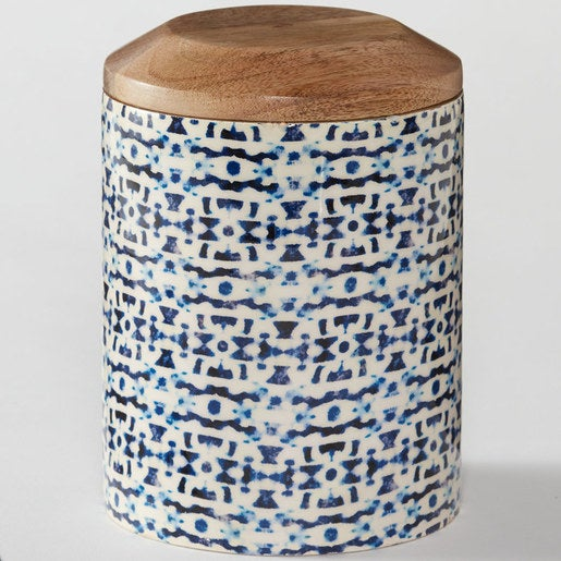 Tall Enamel Coated Mango Wood Canister