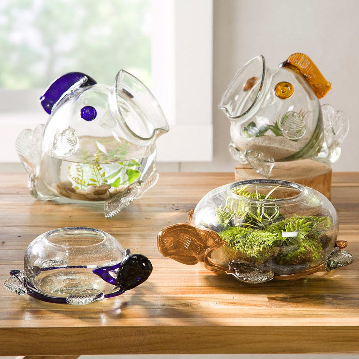 Recycled Glass Fish & Turtle Vases