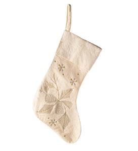 Shimmering Holiday Wool Felt Stockings