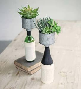 Metal Bottle Topper Planters Set of 2