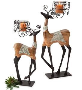 Curled Antler Reindeer Tealight Holders