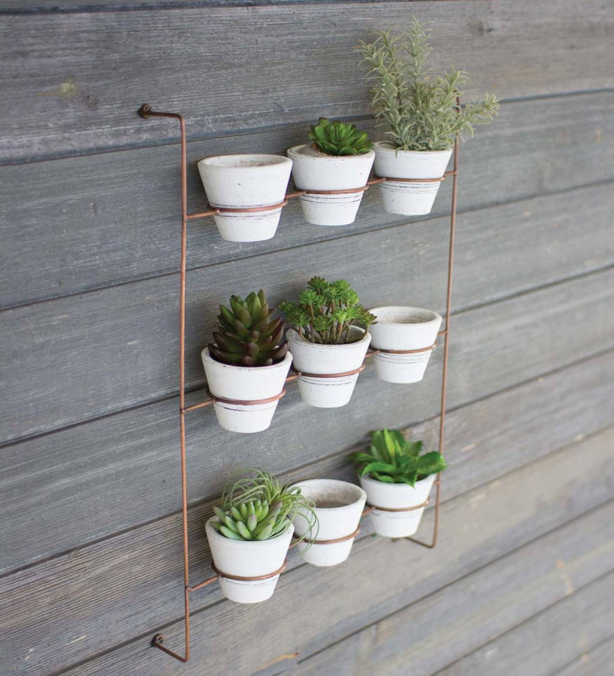 White Wash Clay Pots On Copper Finish Wall Rack Set of 9