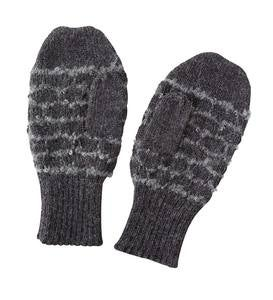 Scallop Weave Alpaca Mittens - Brown
