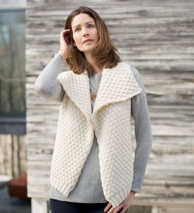 Fold-Over Collar Alpaca Vest