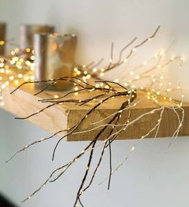 Indoor/Outdoor Lighted Birch Garland with 165 Micro LED Lights, 5'L