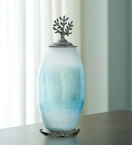 Recycled Glass Urns with Tree of Life Accent