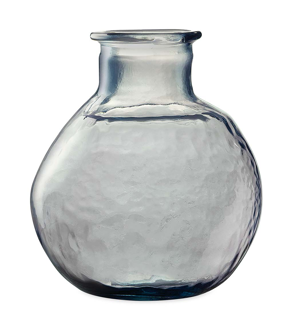"Oval Recycled Glass Balloon Vase, 12"" - Mediterranean Blue"