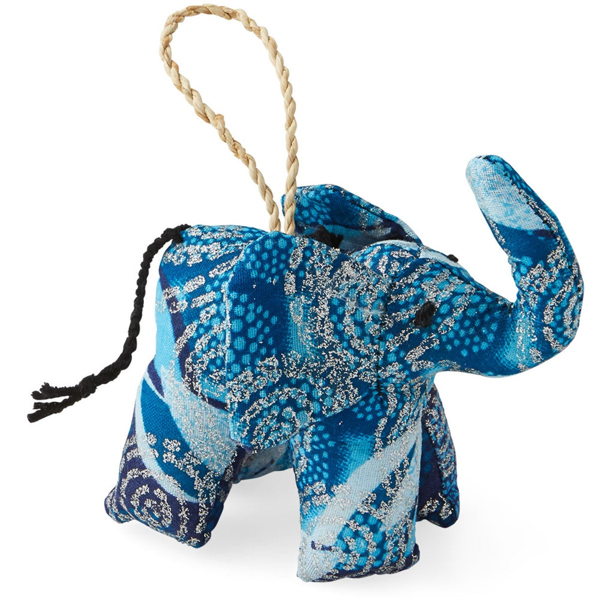 Fair Trade Colorful Cotton Elephant Ornament - Blue