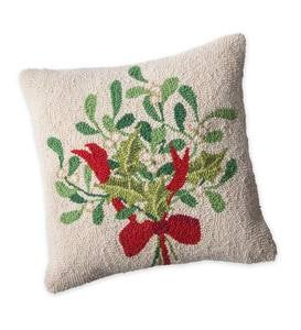 Hand-Hooked Wool Mistletoe Pillow