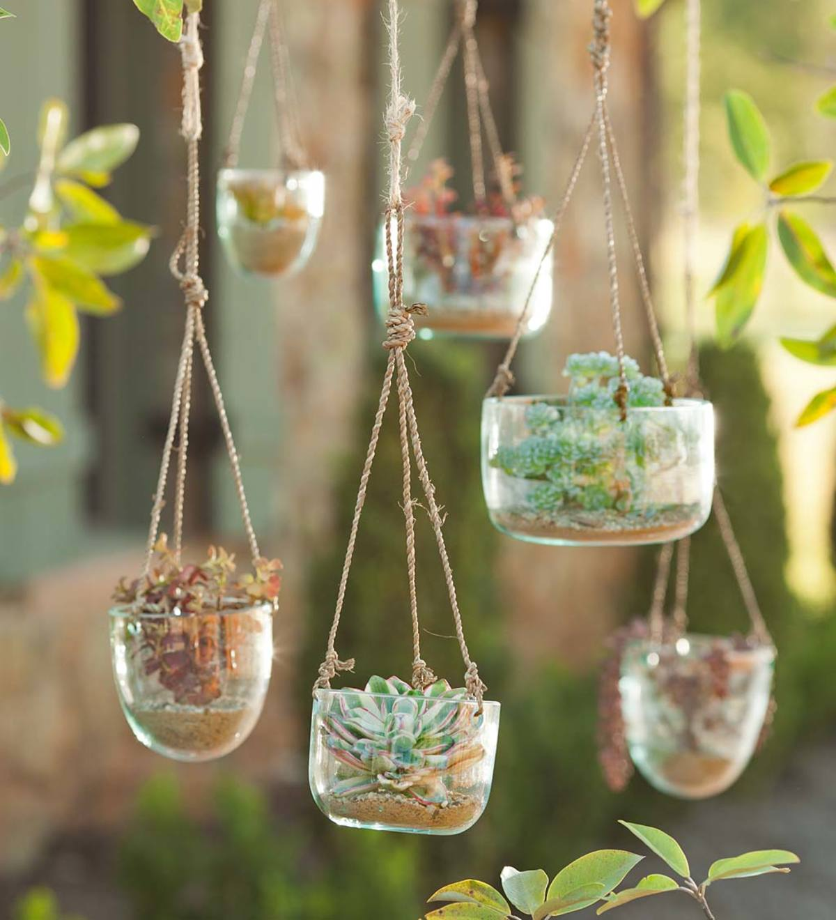 Recycled Glass Hanging Vases - Set of 3