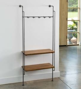 Industrial-Style Wall Mounted Entryway Hall Tree Coat Rack