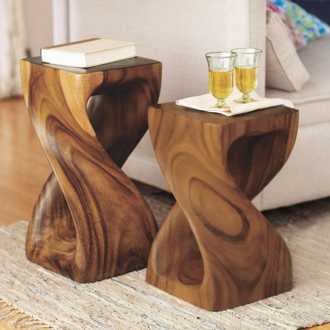 Handcarved Twisty Stool Collection
