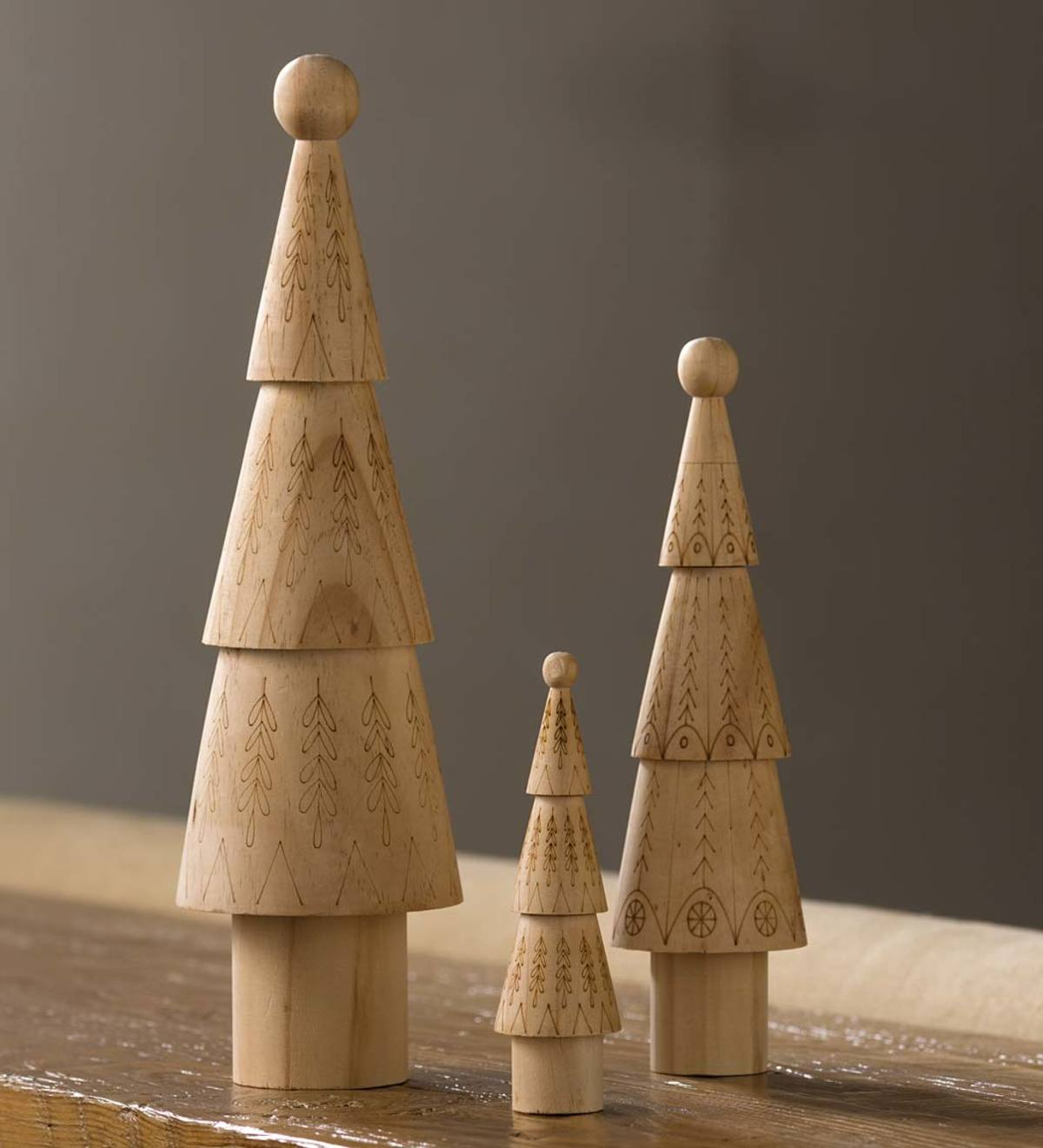 Carved Wooden Chisel Trees