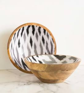 Ikat Grey Enameled Mango Wood Serving Collection