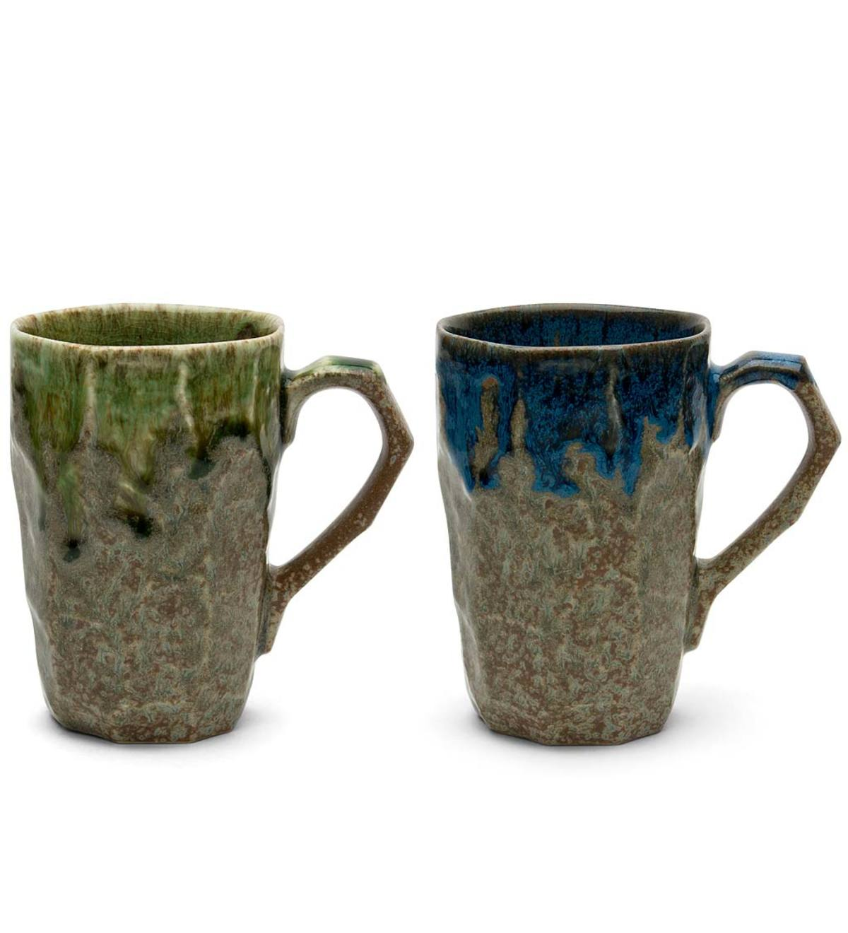 Tall Jewel Tone Boulder Mugs, Set of 2