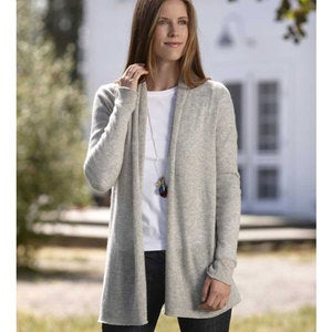 Lightweight Cashmere Duster Cardigan - Gray - L (12-14)