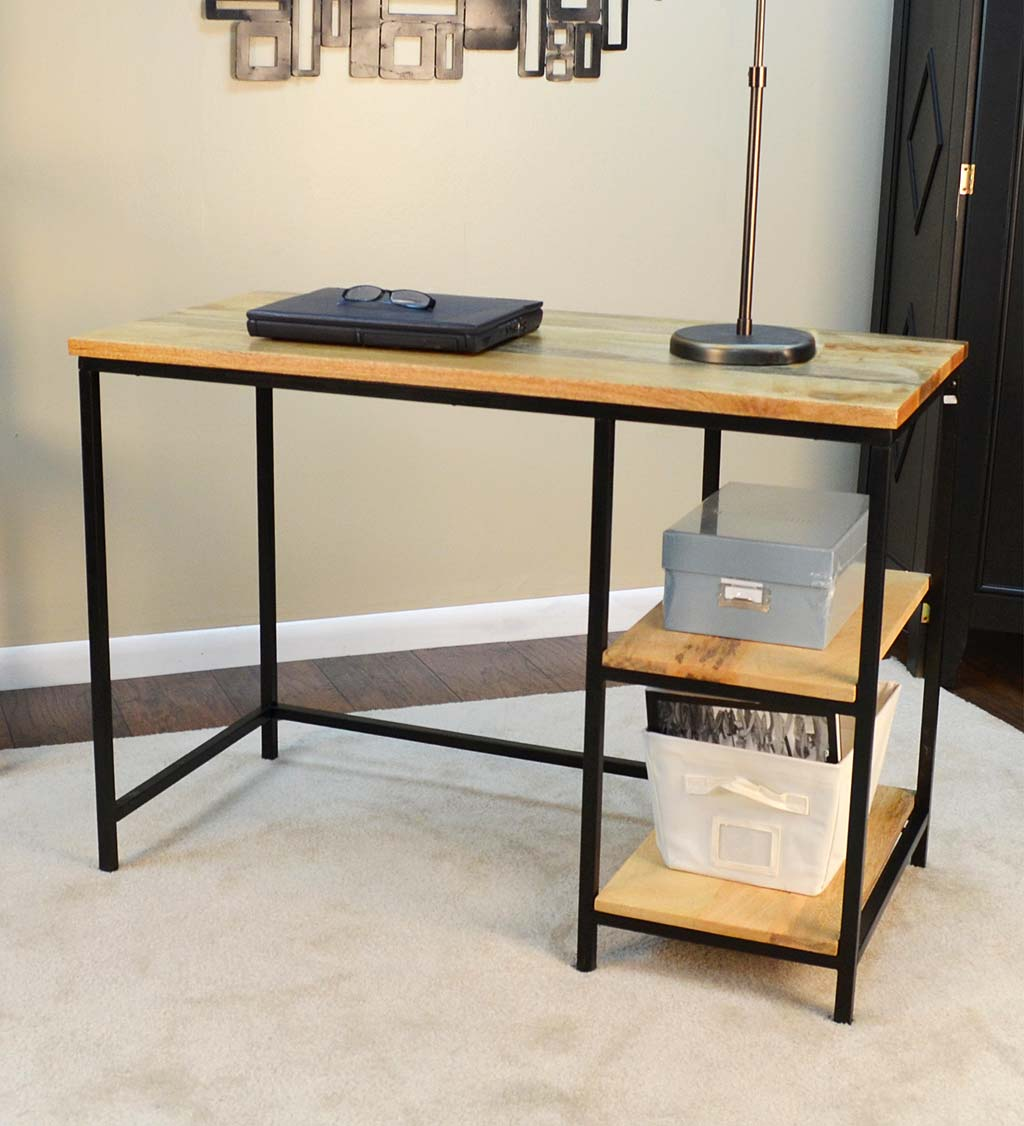 Industrial-Style Mango Wood and Metal Desk with Shelves
