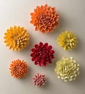 """Bright"" Ceramic Wall Flower Collection, Set of 7"