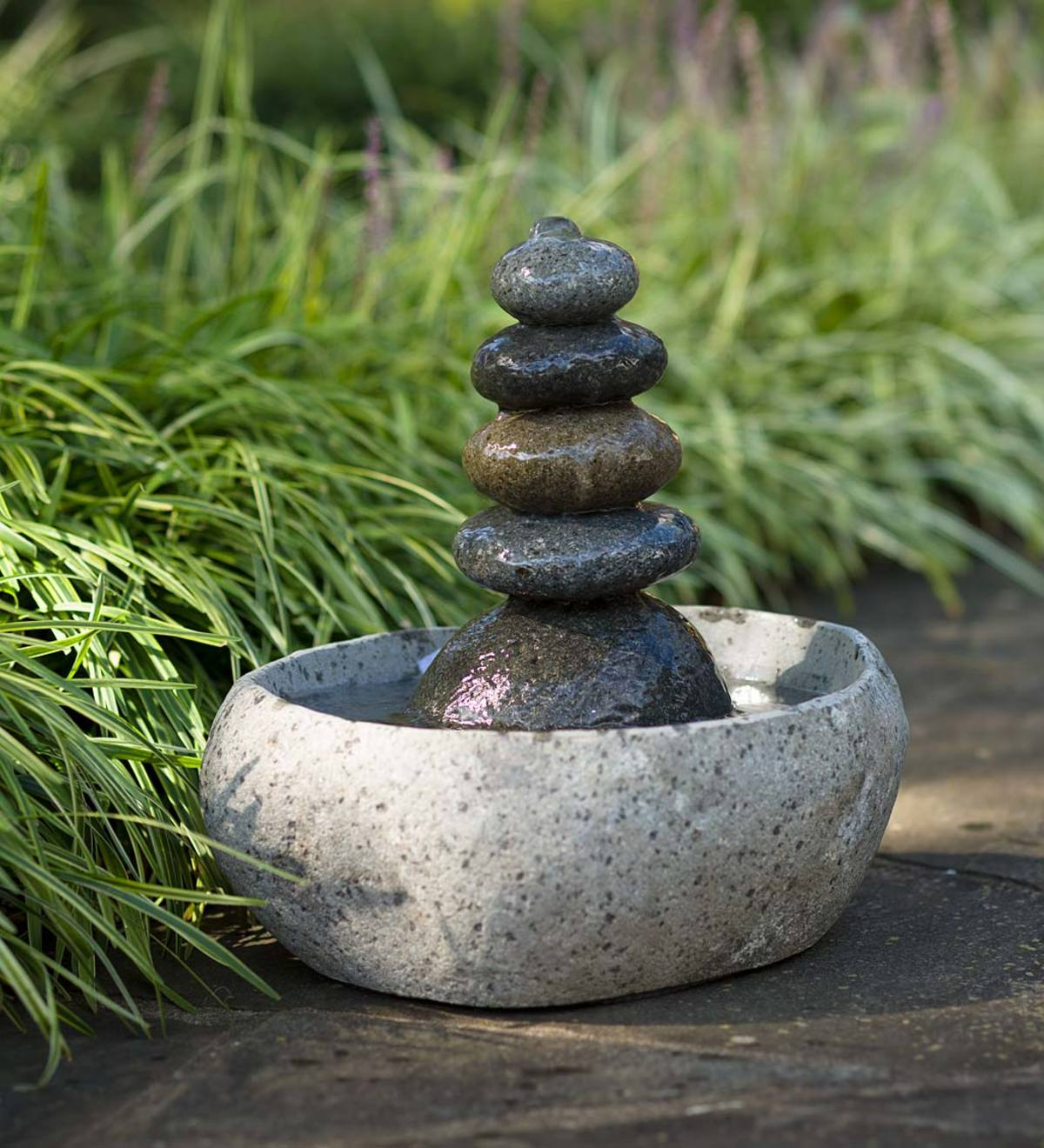 Tranquil Rock Cairn Fountain