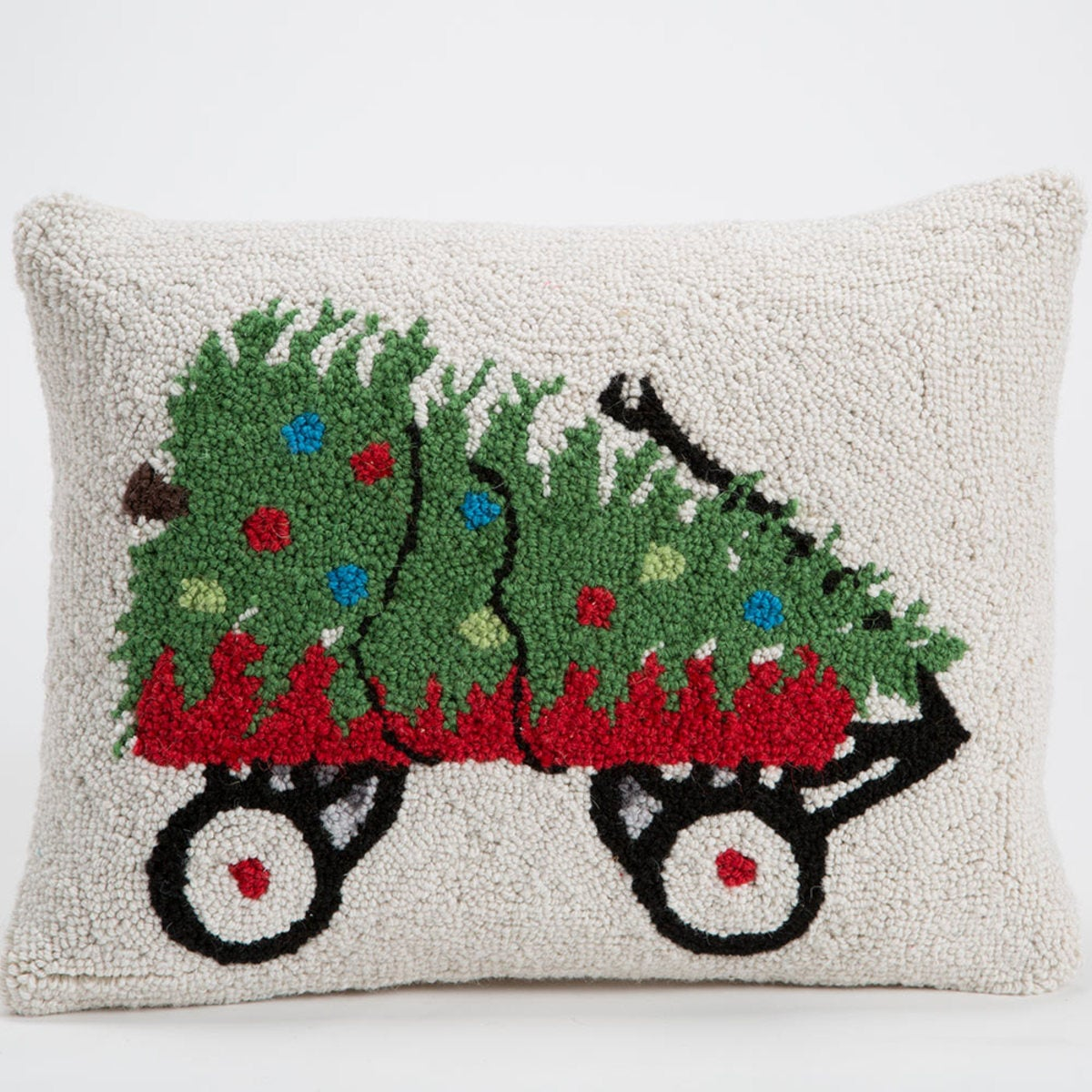 "Red Wagon Hand-Hooked Wool Pillow, 18""L x 14""H - Red Wagon"