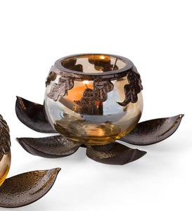 Open Lotus Flower Votive Holder Set - Brass
