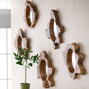 Single Teak Wood Slice Mirror