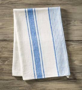 Green & Blue Stripe Pure Linen Towel Collection