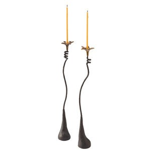 Twisting Vine Floral Iron Candlesticks - Set of 2